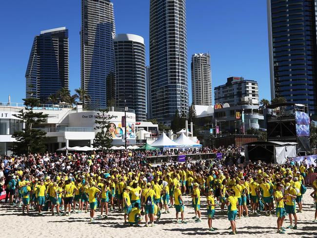 The Australian Team Medal Parade at the Gold Coast Commonwealth Games. Picture: MEGA