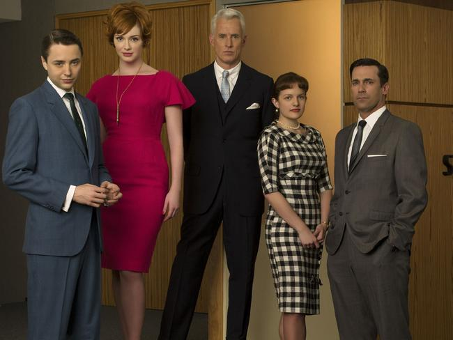 Mad Men ... Actors (l-r) Vincent Kartheiser, Christina Hendricks, John Slattery, Elisabeth Moss and Jon Hamm.