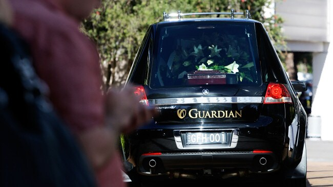 A hearse carrying the body of Andrew Chan arrives at a Baulkham Hills church on May 8, 2015. Image: Getty.