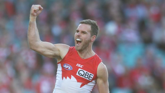 Ben McGlynn of the Swans celebrates scoring during the Round 23 AFL match between the Sydney Swans and the Richmond Tigers at the SCG in Sydney, Saturday, Aug. 27, 2016. (AAP Image/David Moir) NO ARCHIVING, EDITORIAL USE ONLY
