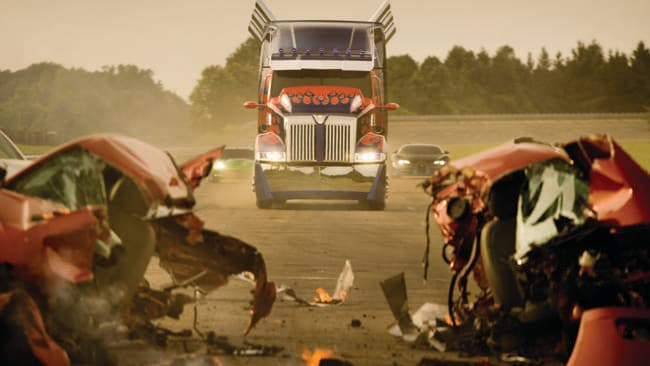 The new Optimus Prime from Western Star in a scene from Transformers: Age of Extinction.