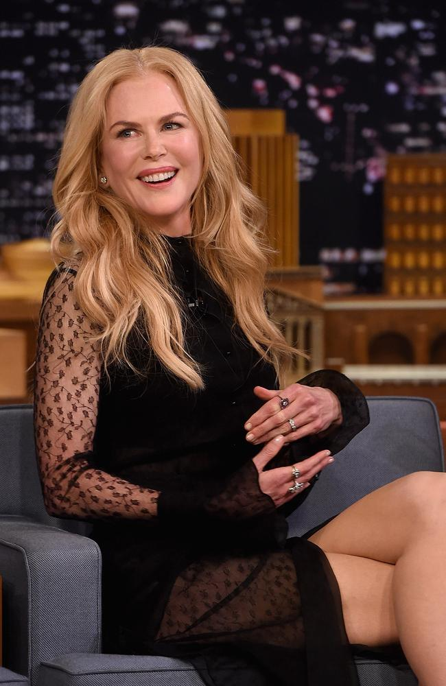 Nicole Kidman in glam mode on the set of The Tonight Show starring Jimmy Fallon on November 16. Picture: AFP