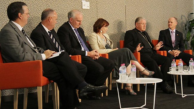 12.12.2012 BCM NEWS. Courier Mail Forum at the Courier Mail. Police Commissioner Ian Stewart, Racing QLD LTD chairman Kevin Dixon, QLD Investment Corp CEO Damien Frawley, Opera QLD Artistic Director Lindy Hume and Catholic Arch Bishop of Brisbane Mark Coleridge and Premier Campbell Newman. PIC MARC ROBERTSON.