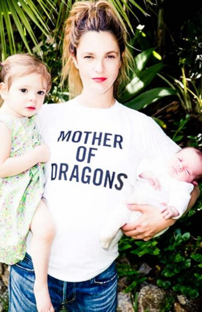 New picture ... American actress Drew Barrymore with daughters Olive and Frankie. Picture: Twitter
