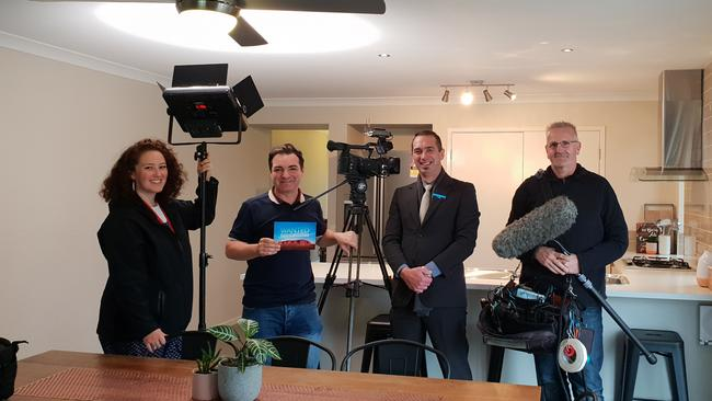The BBC film crew for Wanted Down Under with real estate agent Jose Alberti.