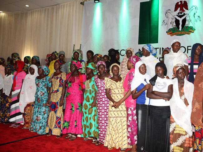 Escapees ... Some of the Chibok schoolgirls who escaped their Boko Haram captors wait to meet the Nigerian president at the presidency in Abuja on July 22. Picture: AFP