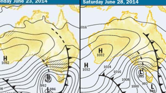 The black sharks fins indicate a cold front, which brings almost certain mountain snow if it crosses the south-east of Australia. As you can see, the two charts (Monday vs Saturday) are almost identical. Snow enthusiasts would be lucky to see charts so similar twice a season, let alone twice in a week.