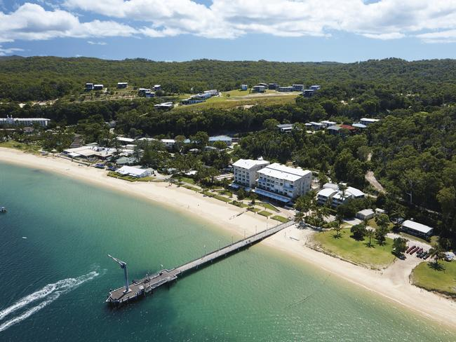 The resort has a range of accommodation styles ranging from three-and-a-half to four stars, as well as restaurants, cafes, a bar and a shop selling all the essentials. Picture: Tangalooma Island Resort