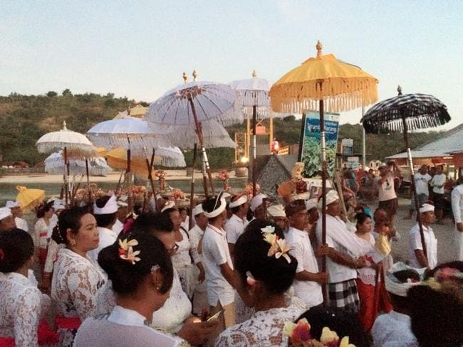 Residents gather near the 'Yellow Bridge' for a religious celebration in July. Picture: Facebook/Mayeri Yoshinda
