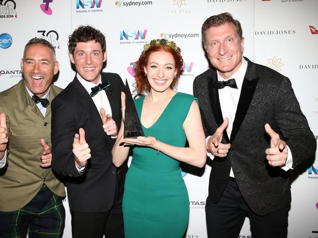 The Wiggles pose in the awards room with an ARIA for Best Childrens Album. Picture: Getty