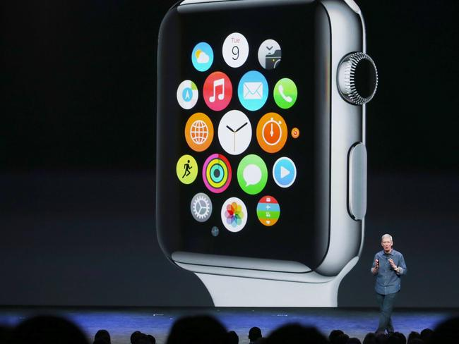 iWatch ... Apple CEO Tim Cook unveils the new and fancy Apple Watch. Picture: Getty/AFP
