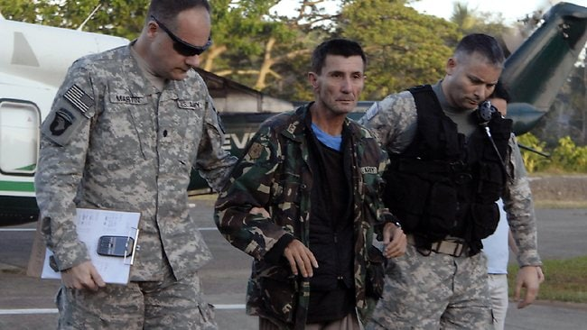 Warren Richard Rodwell arrives at the Phillippines Western Mindanao Command headquarters in Zamboanga City, 850km south of Manilla. Picture: AP