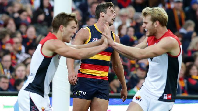 Jack Viney and Jack Watts celebrate a goal in the win over Adelaide. Picture: SARAH REED