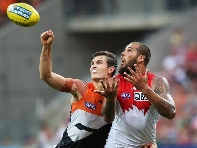 Davis played on Lance Franklin when the Giants face Sydney Swans in Round 1. Picture: Phil Hillyard