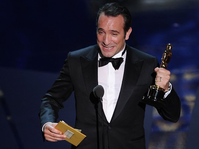 """Oscar winner for Best Actor for the movie """"The Artist"""" Jean Dujardin addresses the audience onstage. Picture: AFP"""