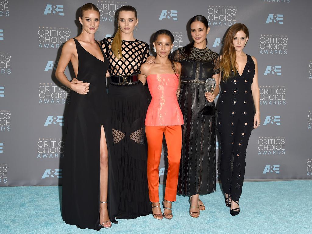 Rosie Huntington-Whiteley, Abbey Lee, Zoe Kravitz, Courtney Eaton and Riley Keough attend the 21st Annual Critics' Choice Awards on January 17, 2016 in California. Picture: Getty