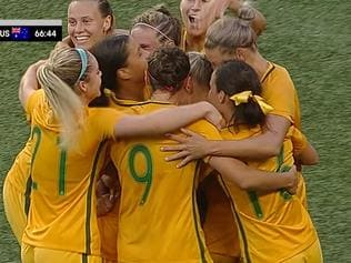Matildas celebrate going 1-0 up in Seattle.