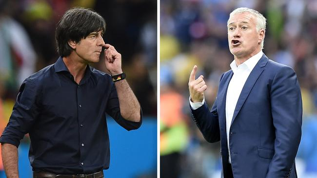 France's coach Didier Deschamps and Germany's coach Joachim Loew.