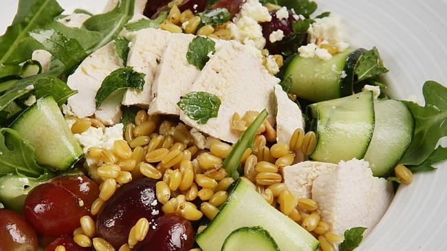 Poached chicken and freekeh salad.
