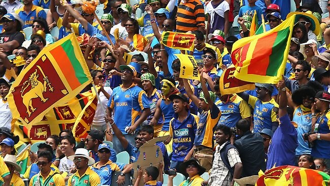 Sri Lankan fans show their support at the MCG,.