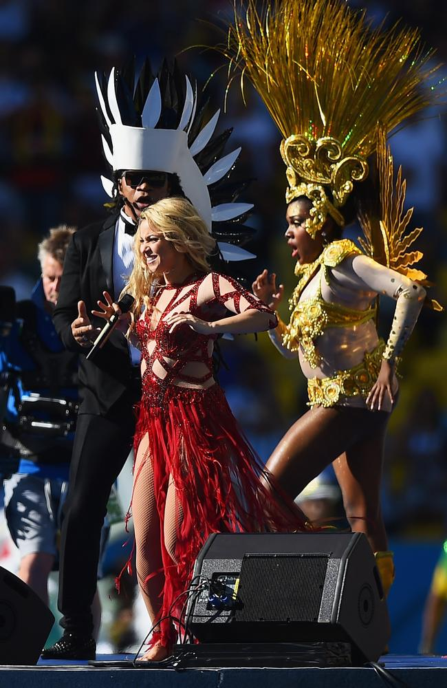 Shakira performs at the closing ceremony.