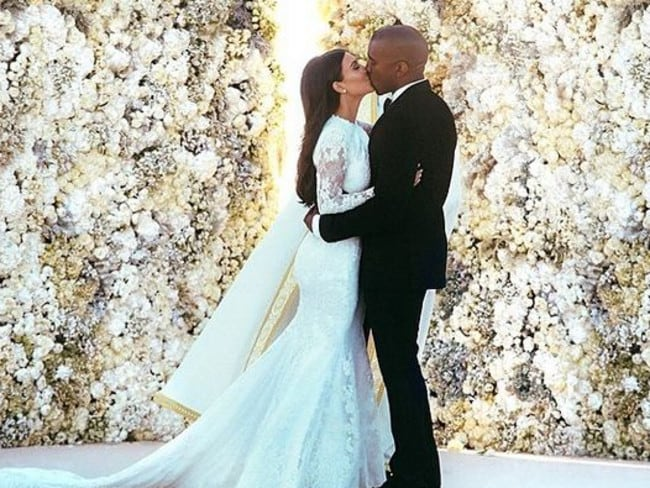 Over the top ... Kim Kardashian and Kanye West laboured over their official wedding picture for four hours. Picture: Instagram/Kim Kardashian