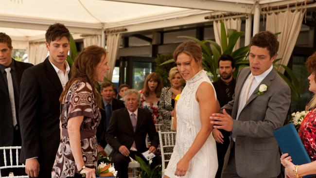 Cheryl Braxton confronts Bianca who's about to marry her son Heath on Home and Away. Picture: Supplied