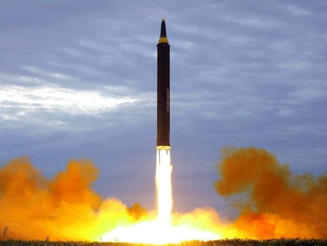 This photo distributed by the North Korean government shows what was said to be the test launch of a Hwasong-12 intermediate range missile in Pyongyang, North Korea. Picture: AP