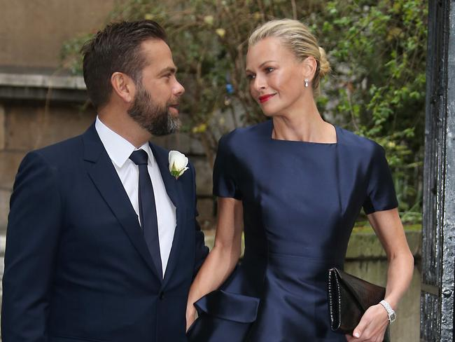 Lachlan and Sarah Murdoch arrive at St Bride's Church for the celebration ceremony of the wedding of Rupert Murdoch and Jerry Hall in London. Picture: Joel Ryan/Invision/AP