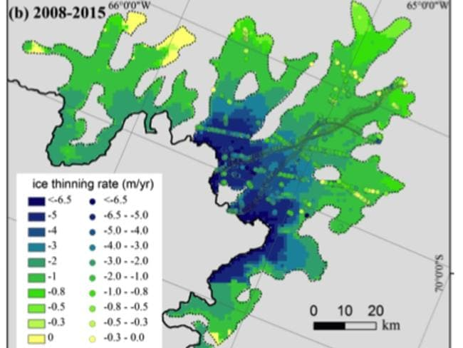 Ice thinning rate of the Fleming Glacier region during (a) 2002-2008 and (b) 2008-2015.