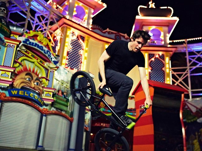 BMX boys in Luna freestyle: late night thrills around Melbourne's Luna Park. Photo: InfinityList