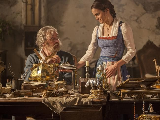 Emma Watson as Belle, right, and Kevin Kline as Maurice in a scene from Beauty and the Beast. Picture: AP