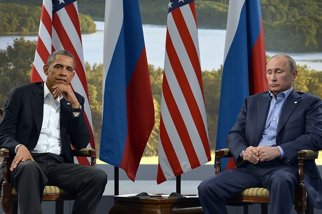 US President Barack Obama (L) holds a bilateral meeting with Russian President Vladimir Putin during the G8 summit at the Lough Erne resort near Enniskillen in Northern Ireland, on June 17, 2013. The conflict in Syria was set to dominate the G8 summit starting in Northern Ireland on Monday, with Western leaders upping pressure on Russia to back away from its support for President Bashar al-Assad. Picture: AFP