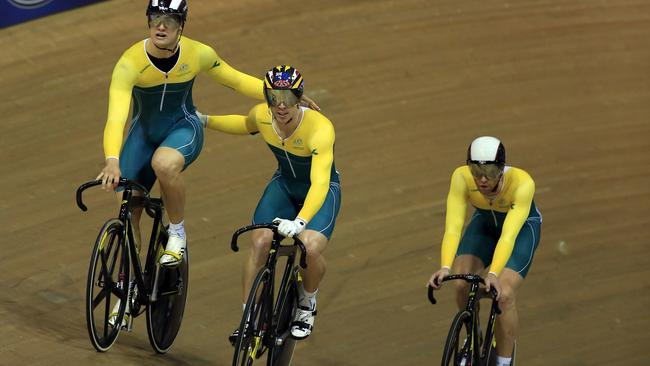 Australia's track cyclists have been doing impressive things with food in the stands.