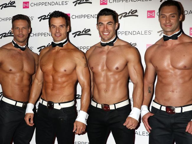 Antonio Sabato Jr, second from the left, debuts in Chippendales Las Vegas as celebrity guest host in 2016. Picture: Splash