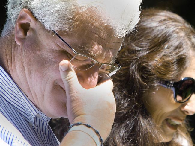 Undying grief ... Diane and John Foley react after speaking with US President Barack Obama. Source: AP