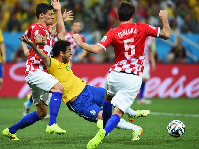 Fred of Brazil was accused of diving in a controversial moment that earned his side a penalty in the 2014 World Cup opener against Croatia.