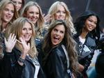 <p>Victoria's Secret models Heidi Klum and Alessandra Ambrosia pose with other models in New York's Times Square to celebrate the return of the Victoria's Secret Fashion Show to New York</p>
