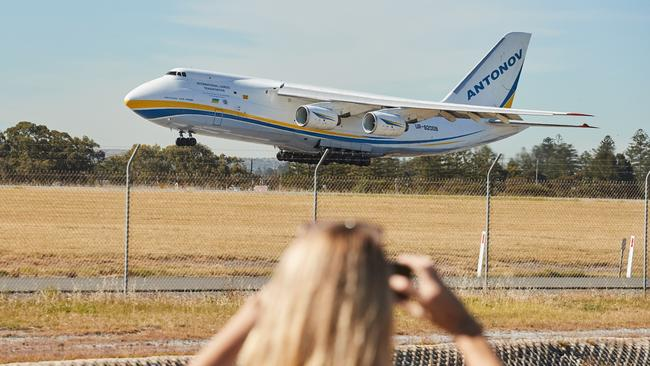 The Antonov 124-100 touches down in Adelaide this morning. Picture: AAP/Matt Loxton