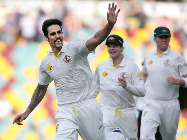 Mitchell Johnson dismissed Jonathan Trott twice at the Gabba in 2013. Picture: Jono Searle.