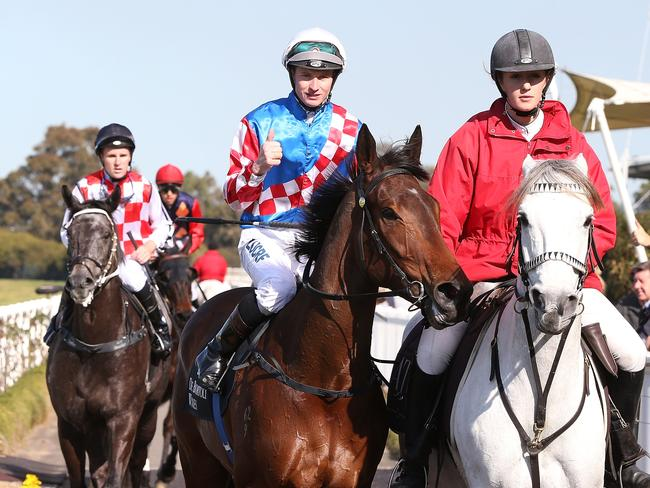 James McDonald gives the thumbs up after riding Laidback Larry to victory. Picture: Getty Images