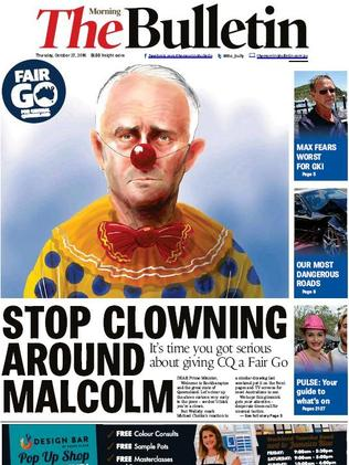 The front page of Rockhampton newspaper, the Morning Bulletin.