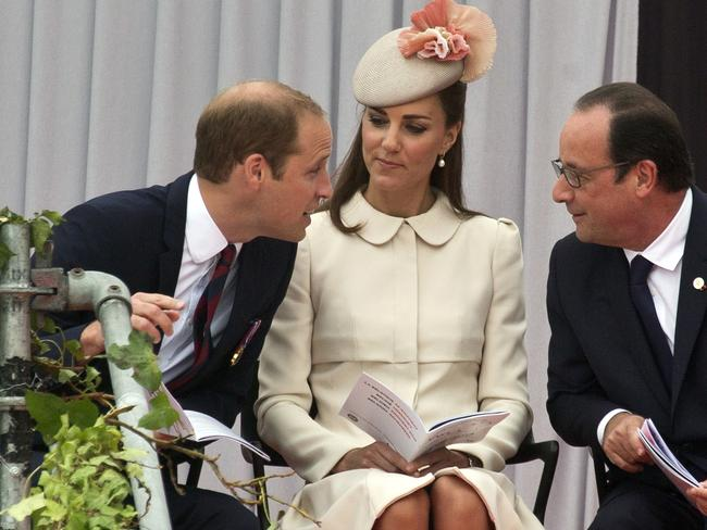 Remembrance ... Prince William, his wife Kate, Duchess of Cambridge and French President Francois Hollande speak during a commemoration ceremony to mark the 100th anniversary of the outbreak of World War I at the Cointe Allies' Memorial in Liege, Belgium. Picture: AP