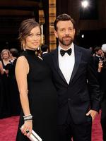 Olivia Wilde, and Jason Sudeikis on the red carpet at the Oscars 2014. Picture: AFP