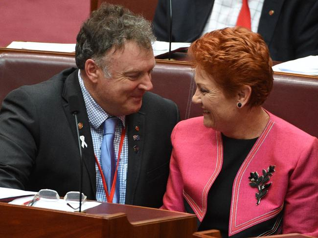 Happier times: Before Rod Culleton and Pauline Hanson spoke out against each other.