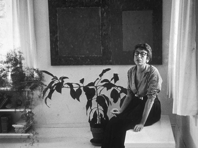 Abstract expressionist artist Lee Krasner, the wife of artist Jackson Pollock, in her East Hampton, New York, home in August 1953. Picture: Tony Vaccaro/Hulton Archive/Getty Images