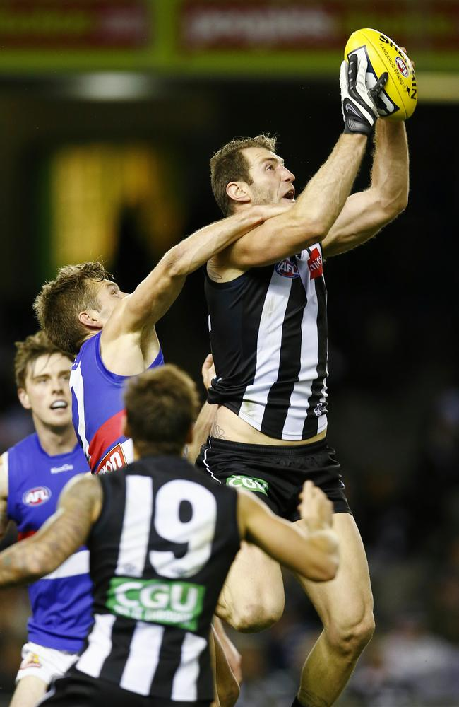 Travis Cloke kicked six goals for Collingwood. Picture: Michael Klein
