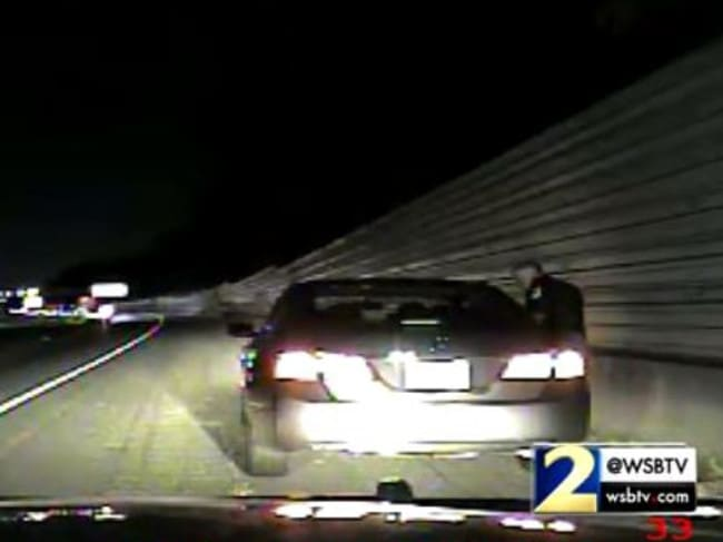 Lieutenant Greg Abbott of the Cobb County Police Department in the dashcam footage. Picture: Channel 2 Action News