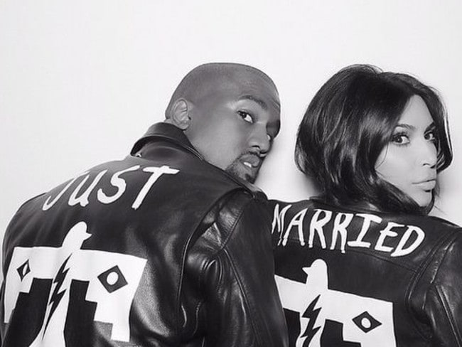 Family ... West and Kardashian show off their matching jackets after their lavish wedding in Italy. Picture: Instagram.