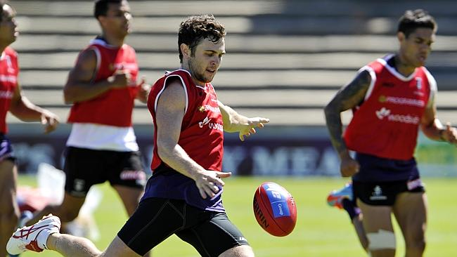 Fremantle forward Hayden Ballantyne on the training track.